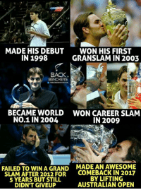Roger Federer 😘 ... The greatest of all time 💪 ...: MADE HIS DEBUT  IN 1998  WON HIS FIRST  GRANSLAM IN 2003  BACK  BENCHERS  THEBACKBENCHERSOFICAL  ぐ  BECAME WORLD  NO.1 IN 2004  WON CAREER SLAM  IN 2009  FAILED TO WIN A GRAND  SLAM AFTER 2012 FOR  5 YEARS BUT STILL  DIDN'T GIVEUP  MADE AN AWESOME  COMEBACK IN 2017  BY LIFTING  AUSTRALIAN OPEN Roger Federer 😘 ... The greatest of all time 💪 ...