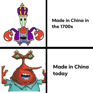 China bad: Made in China in  the 1700s  Made in China  today China bad