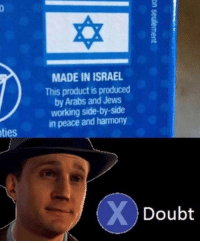 I don't buy it.: MADE IN ISRAEL  This product is produced  by Arabs and Jews  working side-by-side  in peace and harmony  ties  Doubt I don't buy it.