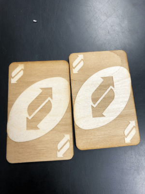Made wooden reverse cards in print shop with a laser engraver!: Made wooden reverse cards in print shop with a laser engraver!