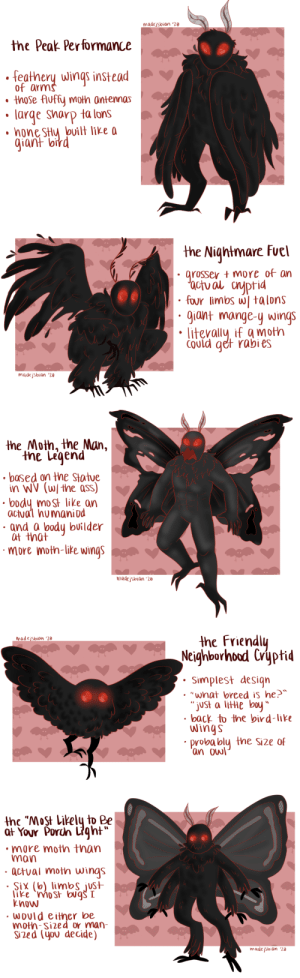 madejsbian: ive gotten a ton of asks requesting i draw more mothman so here's some mothmen (based on the most popular designs he's drawn as)
