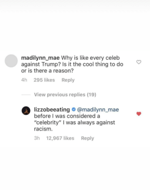 "100% the wrong person to troll: madilynn_mae Why is like every celeb  against Trump? Is it the cool thing to do  or is there a reason?  4h 295 likes Reply  View previous replies (19)  lizzobeeating @madilynn_mae  before I was considered a  ""celebrity"" I was always against  racism.  3h 12,967 likes  Reply 100% the wrong person to troll"