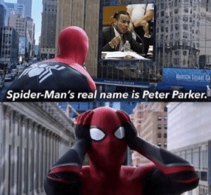 Spider, Square, and Peter Parker: MADISON SQUARE GA  PI9 TATION  Spider-Man's real name is Peter Parker. Exposed