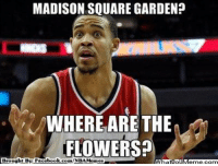 Fac, Meme, and Nba: MADISON SQUARE GARDEN?  WHERE ARE THE  FLOWERS?  Brought By Fac  ebook What IlollM MSG? Curtis Wright Jr  http://whatdoumeme.com/meme/mmx8nz
