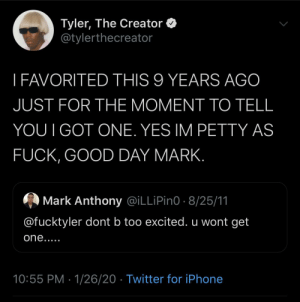 Madlad Tyler never forgot in 9 years. That's some petty shit. Now thinking about it, as an artist that must've really hurt him back then..little things..: Madlad Tyler never forgot in 9 years. That's some petty shit. Now thinking about it, as an artist that must've really hurt him back then..little things..