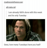 Memes, Fandom, and 🤖: madnessistheexcuse:  all-natu-ral.  I am already 900% done with this week  and its only Tuesday  Geez, how many Tuesdays have you had? Even though its wednesday now its just a continuation of tuesday - spn Supernatural spnfamily jaredpadalecki jensenackles mishacollins sam dean winchesters castiel destiel fandom ship otp