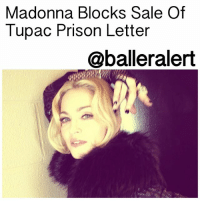 "Madonna Blocks Sale Of Tupac Prison Letter - blogged by: @eleven8 ⠀⠀⠀⠀⠀⠀⠀⠀⠀ ⠀⠀⠀⠀⠀⠀⠀⠀⠀ Do you remember the letter Tupac wrote in prison, revealing that he had broken up with Madonna because she was white and bad for his image? Well, it appears it won't be going up for auction after all. A judge has blocked the sale of 22 items that Madonna has deemed as ""extremely private and personally sensitive."" Of those items are previously worn satin underwear and the letter TupacShakur wrote to her from jail. ⠀⠀⠀⠀⠀⠀⠀⠀⠀ ⠀⠀⠀⠀⠀⠀⠀⠀⠀ Photos, a checkbook, a hairbrush, unreleased recordings and other items were also placed up for auction. They are listed as having been put on sale by Darlene Lutz, Madonna's ""art consultant"" and ""a longtime personal friend of Madonna's from her innermost circle, knowing her for over 20 years,"" according to the description she provided. ⠀⠀⠀⠀⠀⠀⠀⠀⠀ ⠀⠀⠀⠀⠀⠀⠀⠀⠀ Madonna says that Lutz had regular access to her home at one point. She says that Lutz helped her move, but she never gifted or sold any of her belongings to her. In her court filing, Madonna says she is ""suffering irreparable harm"" due to the ""unauthorized display, disclosure and dissemination of highly personal information, including her, her friend's and former boyfriends' confidential mental thoughts and impressions."" ⠀⠀⠀⠀⠀⠀⠀⠀⠀ ⠀⠀⠀⠀⠀⠀⠀⠀⠀ 56 of the 128 items from Madonna's personal collection still remain up for auction.: Madonna Blocks Sale Of  Tupac Prison Letter  @balleralert  1 Madonna Blocks Sale Of Tupac Prison Letter - blogged by: @eleven8 ⠀⠀⠀⠀⠀⠀⠀⠀⠀ ⠀⠀⠀⠀⠀⠀⠀⠀⠀ Do you remember the letter Tupac wrote in prison, revealing that he had broken up with Madonna because she was white and bad for his image? Well, it appears it won't be going up for auction after all. A judge has blocked the sale of 22 items that Madonna has deemed as ""extremely private and personally sensitive."" Of those items are previously worn satin underwear and the letter TupacShakur wrote to her from jail. ⠀⠀⠀⠀⠀⠀⠀⠀⠀ ⠀⠀⠀⠀⠀⠀⠀⠀⠀ Photos, a checkbook, a hairbrush, unreleased recordings and other items were also placed up for auction. They are listed as having been put on sale by Darlene Lutz, Madonna's ""art consultant"" and ""a longtime personal friend of Madonna's from her innermost circle, knowing her for over 20 years,"" according to the description she provided. ⠀⠀⠀⠀⠀⠀⠀⠀⠀ ⠀⠀⠀⠀⠀⠀⠀⠀⠀ Madonna says that Lutz had regular access to her home at one point. She says that Lutz helped her move, but she never gifted or sold any of her belongings to her. In her court filing, Madonna says she is ""suffering irreparable harm"" due to the ""unauthorized display, disclosure and dissemination of highly personal information, including her, her friend's and former boyfriends' confidential mental thoughts and impressions."" ⠀⠀⠀⠀⠀⠀⠀⠀⠀ ⠀⠀⠀⠀⠀⠀⠀⠀⠀ 56 of the 128 items from Madonna's personal collection still remain up for auction."