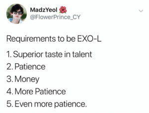 Memes, Money, and Patience: MadzYeol  @FlowerPrince_CY  Requirements to be EXO-L  1. Superior taste in talent  2. Patience  3. Money  4. More Patience  5. Even more patience. EXO memes