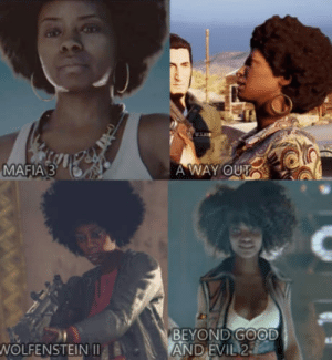 Why is this lady in every new game?: MAFIA 3  A WAY OUT  BEYOND GOOD  AND EVIL 2  WOLFENSTEIN Why is this lady in every new game?