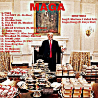 """Energy, Fbi, and Hillary Clinton: MAG  1. Huge  2. CovFEFE (ft. 6ix9ine)  3. China  4. Hamberders  5. The Wall (ft. Mexico)  6. MAGA  7Blood Brothers (ft. Mi e Pance)  BONUS TRACKS  Gang (ft. Mike Pence & Vladimir Putin)  Dragon Energy (ft. Kanye West)  ake News  Nuclear (ft. Kim Jong Un)  10""""crooked (ft. Hillary Clinton)  11. Small Loan  12. Investigation (tt. FBI)  13. Smocking Gun  14. Fired  15. No Russian  1, 2020 (Outro)  PARENTAL  EXPLICIT CONTENT"""