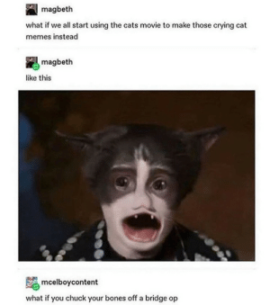 Cursed movie: magbeth  what if we all start using the cats movie to make those crying cat  memes instead  magbeth  like this  mcelboycontent  what if you chuck your bones off a bridge op Cursed movie