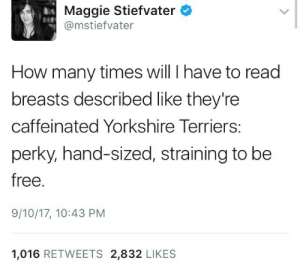 How Many Times, Free, and How: Maggie Stiefvater  @mstiefvater  How many times will I have to read  breasts described like they're  caffeinated Yorkshire Terriers:  perky, hand-sized, straining to be  free.  9/10/17, 10:43 PM  1,016 RETWEETS 2,832 LIKES