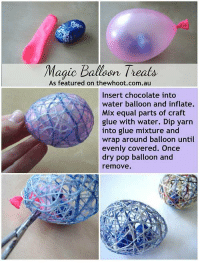 Memes, 🤖, and Inflation: Magic Balloon Treats  As featured on thewhoot.com.au  Insert chocolate into  water balloon and inflate.  Mix equal parts of craft  glue with water. Dip yarn  into glue mixture and  wrap around balloon until  evenly covered. Once  dry pop balloon and  remove. http://t.co/a30ffEzBz0