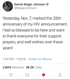 Magic Johnson celebrating his 28th year battling HIV: Magic Johnson celebrating his 28th year battling HIV