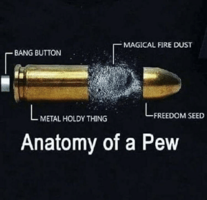 Knowing is half the battle!: MAGICAL FIRE DUST  BANG BUTTON  FREEDOM SEED  METAL HOLDY THING  Anatomy of a Pew Knowing is half the battle!