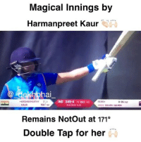 Finals, Journey, and Respect: Magical Innings by  Harmanpreet Kaur  ekhbha  IND 245-4 2 392 (4  PERRY  0-36182  KRISHNAMURTHY 22  KAUR  50  RUN RATE 623  Remains NotOut at 171*  Double Tap for her Running short of words to express this knock from Harmanpreet 😍👏🏻🙌🏻 Respect Highest knock by an Indian in WorldCup 👏🏻 Don't miss the 2nd half 💥⚡️ India puts up 281-4 in 42 overs 👏🏻 Can we make to Finals ? 😍 WHAT A JOURNEY 🎆🎇