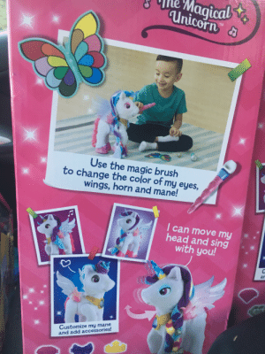 This unicorn packaging features a little boy enjoying his new toy. ❤️: Magical  Unicorn &  TM  Use the magic brush  to change the color of my eyes,  wings, horn and mane!  I can move my  head and sing  with you!  an  Customize my mane  and add accessories! This unicorn packaging features a little boy enjoying his new toy. ❤️