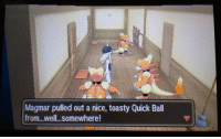 Tumblr, Blog, and Http: Magmar pulied out a nice, toasty Quick Ball  from...well..somewhere nintooner:i don't want to know