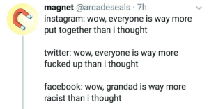 Facebook, Instagram, and Twitter: magnet @arcadeseals 7h  instagram: wow, everyone is way more  put together than i thought  twitter: wow, everyone is way more  fucked up than i thought  facebook: wow, grandad is way more  racist than i thought Wow