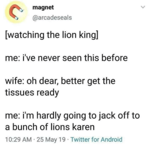 Lion King: magnet  @arcadeseals  [watching the lion kingl  me: i've never seen this before  wife: oh dear, better get the  tissues ready  me: i'm hardly going to jack off to  a bunch of lions karen  10:29 AM 25 May 19 Twitter for Android Lion King