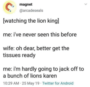 Android, Twitter, and Lion: magnet  @arcadeseals  watching the lion kingl  me: i've never seen this before  wife: oh dear, better get the  tissues ready  me: i'm hardly going to jack off to  a bunch of lions karen  10:29 AM 25 May 19 Twitter for Android Lion king