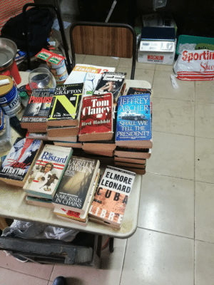 """Saw a woman giving away some old books. Got 46 in total.: MAGNUM  BX7  Sheo  TONIC WINE  Panado!  MATERATICA  Panadel  Fisica ence  Sanders  Olean  NATIONAL BESTSEL  AMMASTERPIECE!  1 BEBrsELLER  SUE  REACH GRAFTON  POMS  Dres  KE  EH YORK TIMES BESTSELLING AUTHO  #1 NEW YORK TIMES BESTSELLING AUTHOR  JEFFREY  35  New York Times Bestseller  Tom  Claucy LARCHER  A legal mystery for  thoughtlul readers  The surprisetwists a  wonderfully effective  Fr e Chr  FOR NOo sp  SHALL WE  TELL THE  PRESIDENT?  Author of S FOR MALIGE  PERAI O'SHAUGHNESS  Red Rabbit  """"OUTRAGEOUS TOP-NOTCH TERROR.  IVogue  7LLER  The most  preteralhe  otle of  he decade  THE AMERICAN BICENTENNLAL SERIES VOLME  a meel  ing tle of ep  he 1pehndine sco  d  re and ouren  the prod oione amen and  Bastard LAURELL K  the  ennatod a Aandc  nes and made them  THE NEW YORK TIMES BESTSELLER  JOHN JAKES  HAMILTON  THE NEWYORK TIMES BESTSENER  UPISVE CG  TRICTION  ELMORE  LEONARD  ICUBA  MAMILTON'S SEXIEST  BOOK.. TAKES THINGS  DTOHE PAGE  Loais Past-Dispa  novel by ILB Gllmour  scd on the screenplay by James Dearden  AUHOR  AN ANITA BLAKE VAMPIRE HUNTER NOVEL  NARCISSUS  IN CHAINS  ANOVEL  B.R  O  Ensay Saw a woman giving away some old books. Got 46 in total."""