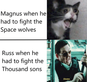 Alive, Space, and Wolves: Magnus when he  had to fight the  Space wolves  Russ when he  had to fight the  Thousand sons  Shame If the Emperor wanted Magnus alive, he wouldn't have sent me