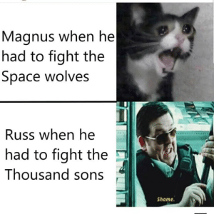 Dad, Guess, and Okay: Magnus when he   had to fight the  Space wolves  Russ when he  had to fight the  Thousand sons  Shame Oh no really do I have to Dad oh well okay I guess DIE NERRRRRRDDDDS