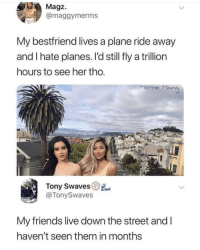 meme man: Magz.  @maggymerms  My bestfriend lives a plane ride away  and I hate planes. I'd still fly a trillion  ours to see her tho  Meme Man  Tony Swaves  @TonySwaves  My friends live down the street and l  haven't seen them in months