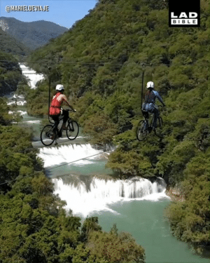Dank, Bible, and Mexico: @MAHIELOEVIALE  LAD  BIBLE This bike zipline in Huasteca Potosina, Mexico is not for the faint-hearted 😱🚴‍♀️  Mariel de Viaje