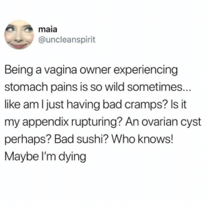 Im Dying: maia  @uncleanspirit  Being a vagina owner experiencing  stomach pains is so wild sometimes..  like am I just having bad cramps? Is it  my appendix rupturing? An ovarian cyst  perhaps? Bad sushi? Who knows!  Maybe I'm dying