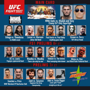 Upcoming fight card: MAIN CARD  UFC  FIGHT NIGHT  MMA  MMA Gods vs. Khabib and Tony  Champ Sh*t Only Superfight  VSIGNATURES  Ortega vs. Theodorou  Co MANE event  Usman vs. Perry  TUF Africa Finale  Lesnar vs. Ubereem Paul Harris vs. Paul Daley  Juicy slut bout  FS1 PRELIMS 8P ET  Anything goes bout  DC vs. Lewis  Popeyes sponsored bout  Helwani vs. The Schmo  Woodley vs. Woodley  There can only be one  Elkins vs. Diaz  Most annoying interviewer Just Bleed Gods Featured Bout  PRELIMS 7P ET  ELECTROLYTES  BRAWNDO  Aldo vs. Grave Digger  Loser gets f*cked  straight up in the as*  THE THIRST MUTLATOR  Zabit vs. Taisumov  Dagestani Chin Strap  Championship  Sanchez vs. Price  WMF Weirdest M*therfucker Belt Upcoming fight card