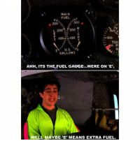 """Anaconda, Bailey Jay, and Tor: MAIN  FUEL  L 2004 200 R  too H  100  TOR  EN U.S.  E  GALLONS  AHH, ITS THE FUEL GAUGE...WERE ON """"E.  WELL MAYBE 'E' MEANS EXTRA FUEL. https://t.co/fncvxKdmsz"""