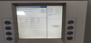 Management screen of a cashpoint at work.: Main Menu/Terminal Close Functions/Cassette Close  IRO0718  24/12/2019  Select the cassettes to place in service,  10:26 AM  Enter  3.2.00  Prog Version:  Press ENTER to continue.  Cancel  X2UKO029  Screen File:  Current Terminal Error:  No Errors  Cash  E10.00  V Cassette A  Cash  E20.00  V Cassette B  Cassette C  3.  Exit Management  Functions  Cassette D  00 Management screen of a cashpoint at work.