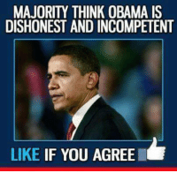 Memes, Obama, and 🤖: MAJORITY THINK OBAMA IS  DISHONEST AND INCOMPETENT  LIKE IF YOU AGREE He is a disaster!