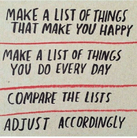 Happy, Make A, and List: MAKE A LIST OF THINGS  THAT MAKE YOU HAPPY  MAKE A LIST OF THINGS  YOU DO EVERY DAY  COMPARE THE LISTS  ADJUST ACCORDINGLY