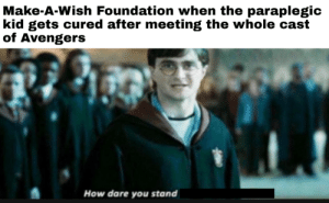 Bullshit: Make-A-Wish Foundation when the paraplegic  kid gets cured after meeting the whole cast  of Avengers  How dare you stand Bullshit