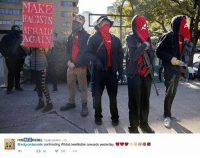 I don't know guys, seeing a small clique of skinny losers holding airsoft rifles incorrectly is kind of intimidating.: MAKE  ACISTS  AFRAID  GAIN  ITIS 2  aroflmaoism 1h  REBEL  eredguardsaustin confronting WhiteLivesMatter cowards yesterday.  85 150 I don't know guys, seeing a small clique of skinny losers holding airsoft rifles incorrectly is kind of intimidating.