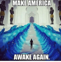 "Brains, Church, and Fail: MAKE AMERICA  AWAKE AGAIN @Regrann from @eclectically_esoteric - AMERICA would take on the following meaning in this given arrangement ""A*MERI*CA"": A= THE MERI= BELOVED In ancient Kemet ""Meri"" by itself or attached to other words denoted a sense of elevated status. For instance, ""Meri-Ka-Ra"" means ""the beloved of the Ka or Re"" or ""The Ka of Re is loved."" ""Ta-Meri"" one of the various names ascribed to the Kemetic civilization means ""the beloved land."" CA= equivalent to ""Ka"". The letters ""C"" and ""K"" are interchangeable for ""C"" sometimes carries the sound as ""K"". K is the spirit that inhabits [a] body during life and can survive after-through death. However, The race has become accustomed to identifying the Will with the Ego. For instance, we speak of a ""weak will,"" or a ""strong will,"" a ""vacillating will,"" or a ""persistent, determined will,""; when we really mean to indicate the different degrees of the activity and expression of the Ego itself. The reason why people fail is clear and obvious to one who makes a rational investigation of the matter. When the Mob governs, man is ruled by ignorance. The majority of humanity is now ignorant of self; when the church governs, man is ruled by superstition; and when the state governs, they are ruled by fear. Before Womb(Man) can live together in harmony and understanding, ignorance must be transmuted into wisdom, superstition into illumined faith, and fear into love. Mind makes Man. And, the masses of the race, are really little more than automatons. Control the Mind and you control the Man. Their wills are called into activity by every passing desire, their passions and desires are uncontrolled, and their thought-processes are the result of suggestions made by others but which they accept and then fondly imagine they have thought the thing for themselves. Enlighten the Mind and you enlighten the Man. Blank the Mind and you blank the Man. 50% of the masses are almost blank. 25% are partially blank. Science has shown that the best of us use less than 10% of our brain capacity. The inevitable is that we are all at least 90% ignorant. It is hard to believe that we know so little about ourselves and our world in which we live. Conscious Mind is lim"