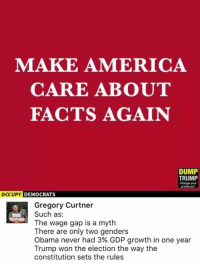 America, Facts, and Memes: MAKE AMERICA  CARE ABOUT  FACTS AGAIN  DUMP  TRUMP  Change your  OCCUPY DEMOCRATS  Gregory Curtner  Such as  The wage gap is a myth  There are only two genders  Obama never had 3% GDP growth in one year  Trump won the election the way the  constitution sets the rules (GC)