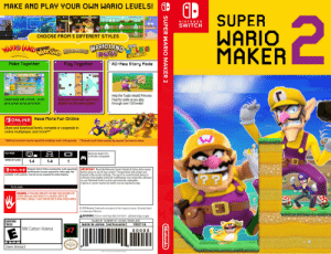 Super wario maker 2: MAKE AND PLAY YOUR OWN WARIO LEVELS!  SUPER  WARIO  MAKER  2  NINTEND o  SWITCH  CHOOSE FROM 5 DIFFERENT STYLES  WARIO LAND  WARK LANDE  WALDIG  EDWORLD  SUPER  VIRTUAL BOY  WARIOLAND ARONO  Make Together  Play Together  All-New Story Mode  Help the  Peach's castle as you play  through over 100 levels!  uild Princess  Enjoy your levels with up to four  players* on the same system!  Create levels with a friend... on the  same screen at the same time!  ODONLINE Have More Fun Online  Nintendo Switch Online  Share and download levels, compete or cooperate in  online multiplayer, and more!**  **Nintendo Switch Online membership required. See below for details.  *Additional accessories may be required for multiplayer mode. Sold separately.  TV  PLAY MODE  Nintendo Switch Pro  Controller compatible  NUMBER OF PLAYERS  1-4  1-4  ABONLINE Nintendo Switch Online membership (sold separately)  and Nintendo Account required for online play. Not  available in all countries. Internet access required for online features.  IMPORTANT! Read the Nintendo Switch Health & Safety Information  before setup or use of your system. The operation instructions are  located in the system settings. The use of an unauthorized device or  software that enables technical modification may render this software  or your Nintendo Świtch s  A game or system update (or both) may be required to play.  permanently unplayable.  Terms apply.  WARNING: IF YOU HAVE EPILEPSY OR HAVE HAD SEIZURES OR  OTHER UNUSUAL REACTIONS TO FLASHING LIGHTS OR  PATTERNS, CONSULT A DOCTOR BEFORE PLAYING VIDEO GAMES.  © 2019 Nintendo. Trodemarks are property of their respective owners. Nintendo Switch  is a trademark of Nintendo  AWARNING: Cancer and reproductive harm - p65warnings.ca.gov  EVERYONE  TODOS  MADE BY SCRERET47 USING TEMPLATE  105211A  MADE IN JAPAN  HACPAAAAUSA  Mild Cartoon Violence  47  00000  ESRB  Nintendo  Users Interact  Seal  creator is finnish. insert quality seal here  SUPER WARIO MAKER 2  Nintendo Super wario maker 2
