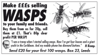 "wasp: Make EEEs selling  WASPS  to your family and friends.  Buy them from us for 20p, sell  them at £1. That's 80p clear  profit PER WASP!  ""I was a tramp when I starfed selling wasps. Now I've got four houses and a giant  yacht in the Caribbean. And my mobile phone has diamond buttons.  HRamp.  Send £20 for your first 100 wasps. Box 23, Leeds"