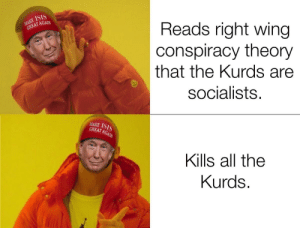 Isis, Genius, and Conspiracy: MAKE ISIS  GREAT AGAIN  Reads right wing  conspiracy theory  that the Kurds are  socialists.  MAKE ISIS  GREAT AGAIN  Kills all the  Kurds. He's such a stable genius...