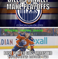 Bad, Hockey, and Memes: MAKE PLAYOFFS  EDMONTON OILERS  @hockey merges forever  DIAN  BEST PLAYER GETS ARRESTED  TWO WEEKS REFORETHE I've lost all respect for McDavid... now the Oilers are screwed😬 - I feel bad for them but it's the classic Oilers😂😂 - - - - - - - - - - - - - - - - - - - - - - - - - - - - - - - - - APRIL FOOLS!! Please leave a like if you enjoyed👍🏽