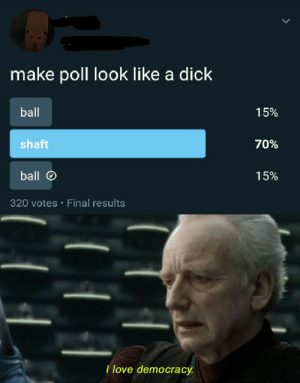 I love it too via /r/memes https://ift.tt/2XMMTs3: make poll look like a dick  ball  15%  shaft  70%  ball  15%  320 votes Final results  I love democracy I love it too via /r/memes https://ift.tt/2XMMTs3