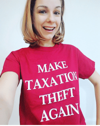 Dank, UC Berkeley, and Libertarian: MAKE  TAXATION  THEFT  AGAIN WARNING: You might get pepper sprayed at UC Berkeley for wearing this shirt.   Shirt from Libertarian Country. Only $15. Get it here: http://bit.ly/2kwszab   #affiliate