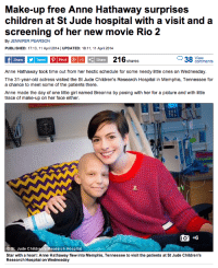 "At-St, Children, and Fashion: Make-up free Anne Hathaway surprises  children at St Jude hospital with a visit and a  screening of her new movie Rio 2  By JENNIFER PEARSON  PUBLISHED: 17:13, 11 April 2014 | UPDATED: 18:11, 11 April 2014  Share 216 shares  38 voewnents  Anne Hathaway took time out from her hectic schedule for some needy little ones on Wednesday.  The 31-year-old actress visited the St Jude Children's Research Hospital in Memphis, Tennessee for  a chance to meet some of the patients there.  Anne made the day of one litle girl named Breanna by posing with her for a picture and with little  trace of make-up on her face either.  ost. Jude Children's Research Hospital  Star with a heart: Anne Hathaway flew into Memphis, Tennessee to visit the patients at St Jude Children's  Research Hospital on Wednesday <p><a class=""tumblr_blog"" href=""http://desertislanddream.tumblr.com/post/82529123532/beckie0-this-headline-and-article-had-me"">desertislanddream</a>:</p>  <blockquote> <p><a class=""tumblr_blog"" href=""http://beckie0.tumblr.com/post/82520974280/this-headline-and-article-had-me-fuming-they"">beckie0</a>:</p> <blockquote> <p>This headline and article had me fuming. They focus the readers attention on appearance again - rather than the good the person (in this case, Anne) is doing. I think it's disgusting how newspapers pick us up on little details such as our makeup - rather that just report good deeds. Does anyone remember seeing the articles about the actress who saved people from drowning, yet all they focused on was her nipples that slipped out as she pulled them from the water?</p> <p>Stop focusing on appearance and forming your articles in such a fashion to gain attention, it belittles the good that others do.</p> </blockquote> <p>We really need to mention her lack of make-up? Really? She flew to Tennessee to spend the day with patient's in a children's hospital. Let's focus on that.</p> </blockquote>"