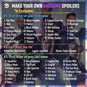 "9gag, America, and Dank: MAKE YOUR OWN ENDGAME SPOILERS  ""In Endgame,  #1. First letter of your first name  A: Ant-Man :Black Panther C: Captain America D: Doctor Strange  E: Hulk  l:lron Man  M: Captain Marvel N: Nebula  Q: Star-LordR: Rocket Raccoon S. Spider-Ma T: Thor  U: Gamora  Y: Scartet Witch Z: Thanos  H: Hawkeye  P: Stan Lee  Winte SoldierX: Nick Fury  F: Falcon  J: Black Widow  G: Groot  War MachineLoki  0: Okoye  V: Valkyrie  9GAG  #2. Last meal you ate  Breakfast: hammere  Breakfast hammered Lunch: smashd Dinner body-shamed  Dinner: body-shamed  #3. First letter of your last name  A: AquamaB: Buzz Lightyear C: Captain Levi D: Doctor Who  E: Edna ModeF: The Flash G:Gandalf H: Harry Potter  l: Indiana Jones J: Jack Spro K: KakashiL: The Lion King  M:Marty McFly N: Neo  Q: Pikachu  U: Goku  Y: Yoda  0: Obi Wan  S: Sherlock  P: Professor Sna  T: T-1000  R: R2-D2  V: Darth VaderW: WoodyX: Xenomorph  Z: Saitama Thor smashed Pikachu⚡️"