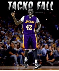 """Fall, Los Angeles Lakers, and Magic Johnson: MAKERS UPDATER  42 Yesterday Tacko Fall posted a picture of him in a Lakers practice-tryout uniform. The picture was with Magic Johnson in what looked like the Lakers practice facility. I can infer that the Lakers are looking at Fall to possibly sign him from the University of Central Florida or take him 2nd round in the draft. Would you want 7'6"""" Tacko Fall to come to the Lakers? Please tag him @tackofall99"""