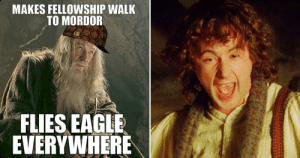 25 Lord Of The Rings Logic Memes That Prove The Series Makes No Sense: MAKES FELLOWSHIP WALK  TO MORDOR  FLIES EAGLE  EVERYWHERE 25 Lord Of The Rings Logic Memes That Prove The Series Makes No Sense